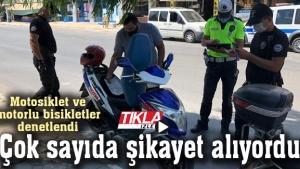Motosiklet ve motorlu bisikletler denetlendi