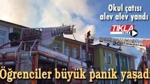 Okul çatısı alev alev yandı! Öğrenciler büyük panik yaşadı