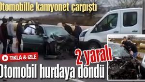 Sakarya'da yaşanan trafik kazasında otomobil hurdaya döndü!