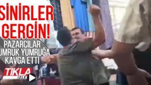 Akyazı'da pazarcılar yumruk yumruğa birbirine girdi